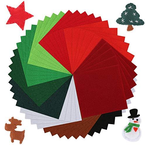 Pllieay, 50 fogli in morbido feltro di Natale, 10,2 x 10,2 cm, spessore 1,4 mm, multiuso per fai da te e decorazioni natalizie, 10 colori