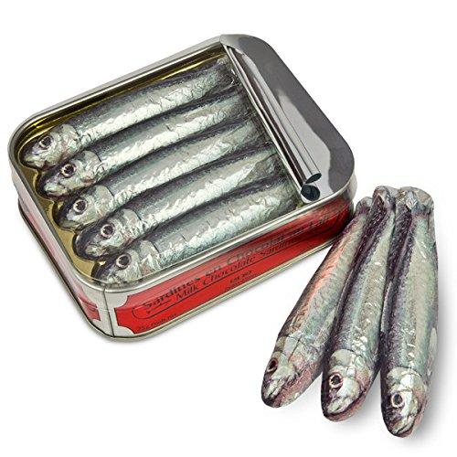 ChocoSardinen - in der Büchse - fünf Fische aus Schokolade | Schokolade Geschenk lustig | Schokoladenfische | Fisch Figuren | Alkoholfrei