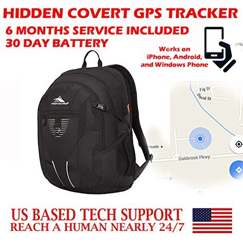 Totally Covert Undiscoverable Hidden GPS Tracker SMS Locator Mini Portable Vehicle Tracking Locating Kids Spy Gadget Device with 30 Day Battery (Bookbag, Backpack, Camping, Hiking, Travel Bag Model)