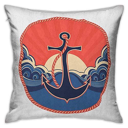 Anchor Square Throw Pillow Covers Etiqueta azul marino con bata y olas...