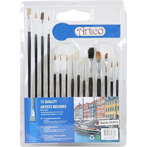 Set di 15 pennelli Artina + tavolozza in plastica per miscelare i colori
