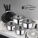 San Ignacio Juego de Sartenes y Batería de Cocina, Aluminio, Negro, Acero Inoxidable