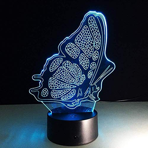 3D Luz nocturna para niños Lámparas de decoración Packing box butterfly regalo de cumpleaños para jóvenes, niñas Con interfaz USB, cambio de color colorido