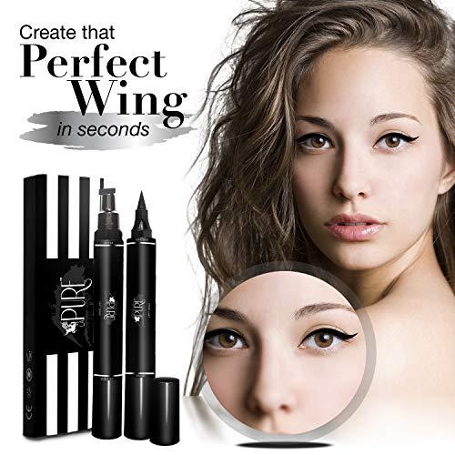 LA PURE Waterproof Eyeliner Stamp - 2 Wingliner Black Make Up Pens, Vamp Style Wing, Smudgeproof & Sweatproof, Perfect Cat Eye Look, Winged Long Lasting Liquid Eye Liner Pen, Eyeshadow, No Dipping