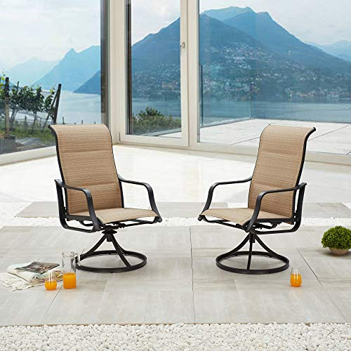 LOKATSE HOME Outdoor Patio Swivel Chair Set Sling(Set of 2), 2, Beige