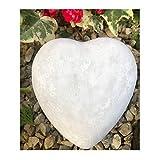 Radami - Corazón para tumbas (piedra fundida, 13 cm), color blanco