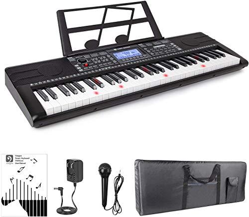 Electronic Piano Keyboard, 61 Light up Keys Portable with Smart LCD Display, 3 Teaching Mode, 40 Demo Songs, Piano Gig Bag
