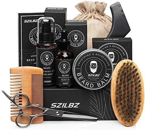 SZILBZ Beard Care Kit for Men Grooming Balm Oil Shampoo Wash Brush Comb Scissors Natural Mild product image