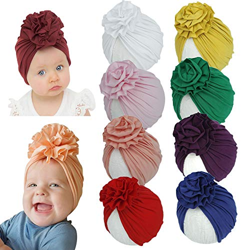 inSowni 8 Pack Solid Nursery Hospital Turban Hat Cap Beanie Bonnet with Flower for Baby Girls Toddlers Newborns Infants