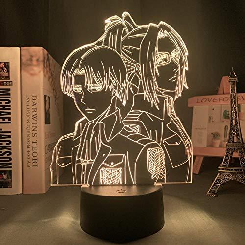 3D Animation Dekorative Lichter Attack on Titan Levi Ackerman Acryl 3D Lampe Hange Zoe für Home Room Decor Licht Kind Geschenk Hange Zoe LED Nachtlicht Anime Neujahr Geschenk