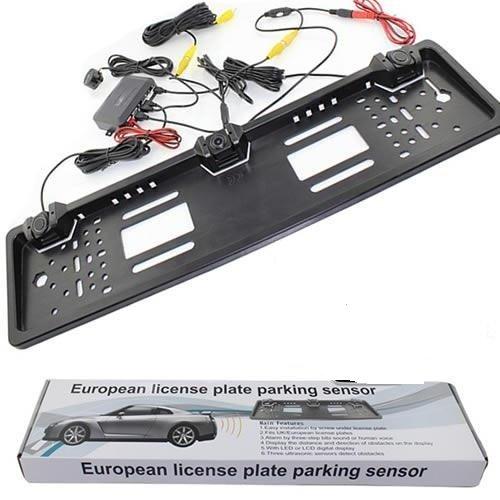 B-black® PORTA TARGA EUROPEO AUTO/CAMPER CON 2 SENSORI DI PARCHEGGIO