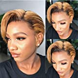 Pixie Cut 1B/27 Bob Lace Front Wigs Human Hair For Women Bleached Knots Ombre Color Brazilian Remy Hair Wigs With Baby Hair Pre Plucked (8inches, Density 150%)