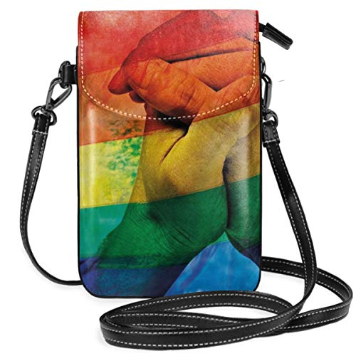 Jiger Women Small Cell Phone Purse Crossbody,Hands Of Young Men Put Together On LGBT Flag Love Valentines Gay Partners