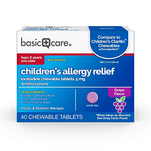 Amazon Basic Care Children's Allergy Relief, Loratadine Chewable Tablets, 5 mg, Antihistamine, 40 Count