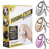 3 PCS Alarma Personal, VOOKI Alto Decibeles Alarma con Función de Iluminación para Seguimiento / Pánico / Seguridad / Ataque / Protección