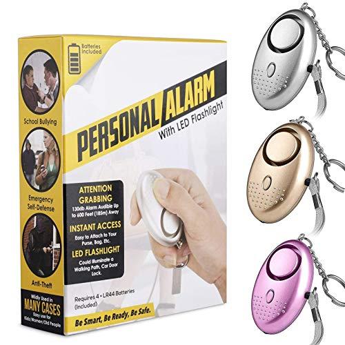 Allarme Personale Emergenza - U UZOPI 3 Pezzi 140 dB Sirena Mini Allarme Portachiavi con la Funzione di Torcia LED, Panico/Sicurezza/Attacco/Protezione Donna Bambino e Anziani