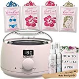 Waxing Kit Digital Wax Warmer Hair Removal with Hard Wax Beans. Kolua Wax Machine- Multiple Wax Beads Formulas for ALL Hair Types, Eyebrow, Facial, Body, Bikini, Brazilian, for Women 20 Applicators