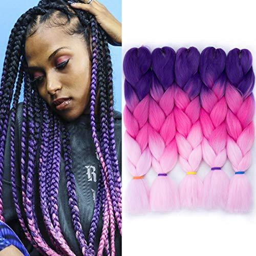 Jumbo Braiding Hair 24 Inch Crochet Box Braids 5 Packs/Lot Jumbo Braids Twist Crochet Hair Braid Synthetic Crochet Braids Hair Extensions for Women (Lavender-Peach-Pink#)