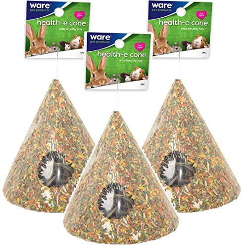 Ware Pet 3 Pack of Health-E Cone Small Animal Toys with Timothy Hay