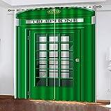 LWXBJX Opacas Cortinas Dormitorio - Cabina de teléfono Verde - Impresión 3D Aislantes de Frío y Calor 90% Opacas Cortinas - 150 x 166 cm - Salon Cocina Habitacion Niño Moderna Decorativa