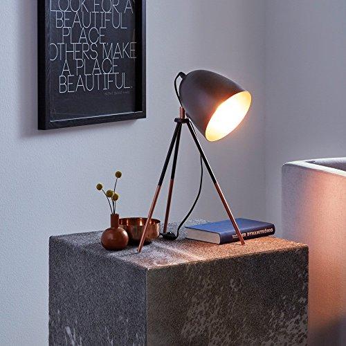 Licht-Trend Stake Tischleuchte mit Wow-Effekt Schwarz & Kupfer Tischlampe Nachtischlampe Retro Vintage Leselampe Schreibtisch Lampe