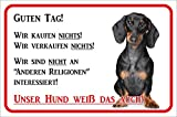 Rainbow-Print Schild - Vorsicht Kurzhaar Dackel Wir kaufen Nichts (20x30cm) thumbnail