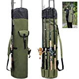 SILANON Fishing Rod Bag Carrier,Portable Fishing Rod Reel Case Holder Canvas Fishing Gear Organizer Travel Carry Case Pole Storage Bag Holds 5 Poles Tackles