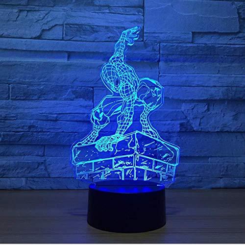 3D Ilusión óptica Lámpara LED Lámpara de luz nocturna Spiderman baby luz nocturna remoto para sala de estar, bar, regalo juguetes para niños y niñas Con interfaz USB, cambio de color colorido