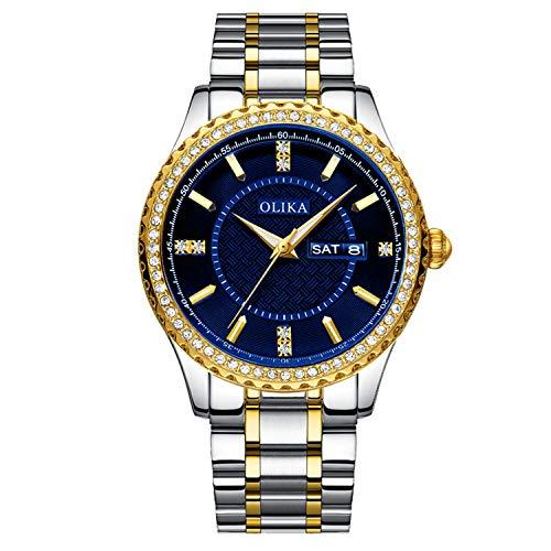 RORIOS Relojes Hombre Analógico Cuarzo Reloj Luminoso Relojes Pulsera Diamante Simulado con Calendario Acero Inoxidable Reloj para Hombres