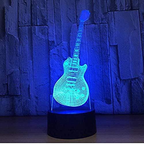 3D Slideshowmusical instrument lamp met nachtlicht 3D gitaar vorm 7 kleuren LED lamp 3D tafellamp 3D decoratie huis voor kinderen jaar geschenk lamp
