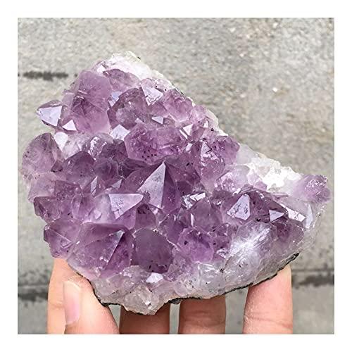 YELVQI Cristal de curación Amatista Natural Cluster Mineral de Cuarzo de Color druso de Cristal de la Muestra curativa