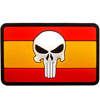 Ohrong Punisher Spartan bandera de España PVC Morale Patch Militar Combat Paintball insignia de goma Emblema con gancho en la parte trasera para Tactical sombreros Gorras Gorras Gears: Amazon.es: Hogar