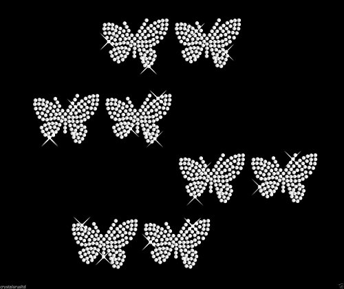 CrystalsRus Strasssteine zum Aufbügeln, Schmetterling-Umriss, 50 mm, 8 Stück farblos