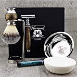 Haryali London 6Pc Mens Shaving Kit with Double Edge Safety Razor, Synthetic Badger