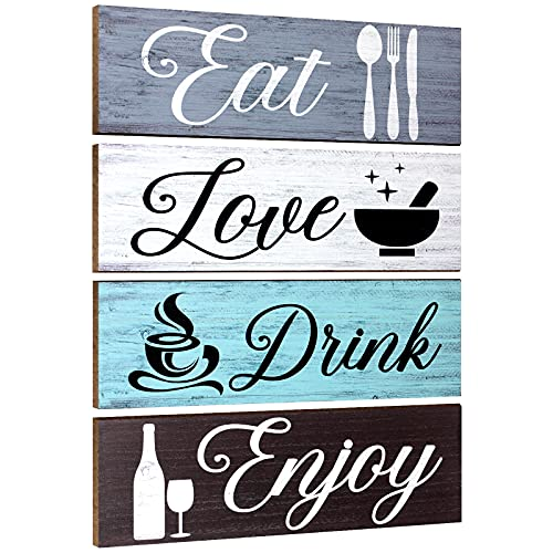 4 Pieces Wood Home Sign Rustic Wooden Kitchen Wall...