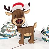 PaperCrush Pop-Up Karte Weihnachten Rentier - Lustige 3D Weihnachtskarte für Kinder, Frau oder Freundin - Handgemachte Popup Karte für Weihnachtszeit, Süße Weihnachtsgrußkarte für Mutter oder Oma
