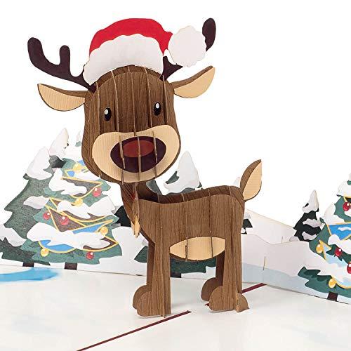 PaperCrush® Pop-Up Karte Weihnachten Rentier - Lustige 3D Weihnachtskarte für Kinder, Frau oder Freundin - Handgemachte Popup Karte für Weihnachtszeit, Süße Weihnachtsgrußkarte für Mutter oder Oma