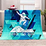 BWBJJ Manta de Franela con impresión 3D Esquiar Manta cálida súper Suave, para niños y Adultos, Juego de Ropa de Cama para Navidad y cumpleaños 70x100 cm