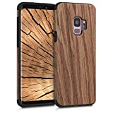 kwmobile Hülle kompatibel mit Samsung Galaxy S9 - Holz TPU Hülle Handy Schutzhülle - Backcover Cover Holz Maserung Braun