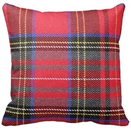 Nicolleoutletstore Mélange de coton Lin carré décoratif Taie d'oreiller 45*45cm Motif tartan Rouge Plaid BG: 133