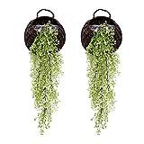 G-Tree Artificielles retombantes Plantes de Vigne, Lot de 2 Pièces artificielles Ivy Fleurs Faux Verdure Plantes pour Jardin Décoration Murale, Vert