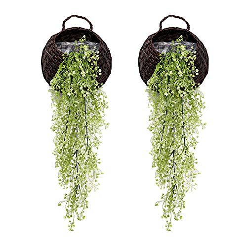 Colgante Artificial Plantas de Vid, Pack de 2 Piezas Artificial Hiedra Falsos Plantas Flores Verdor para jardín decoración de la Pared, Verde