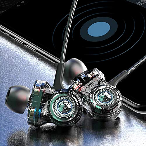 OBB Earbuds Headphones with Microphone, Extra Bass with 10+6+6mm PET+PU Drivers, Comfortable Lightweight Earphones with Volume Control, 3.5mm in Ear Headphones for Laptop/Smartphone/PC, Green