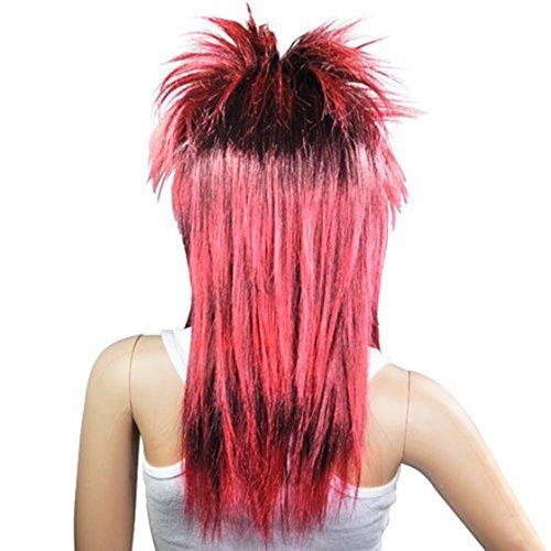 Dasing Rood Zwart Dames Glam Punk Rocker Chick Tina Turner Carnaval Pruik Fancy Jurk Kostuum