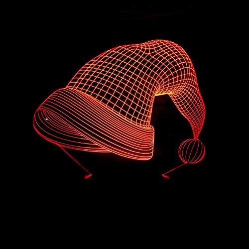 3D Optische Illusion LED Nachtlicht Lampe Täuschung Weihnachtsmütze 7 Farbwech ändern Berühren Sie Botton Farben Touch Tischleuchte Schlafzimmer Schreibtischlampe für Kinder Weihnachts geschenk