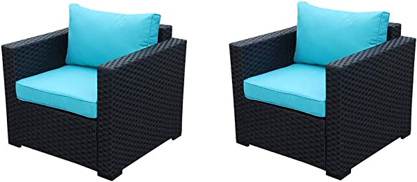 Patio Rattan Wicker Single Chair Outdoor Armchair Sofa Furniture With Thick Turquoise Cushion Steel Frame Set Of 2