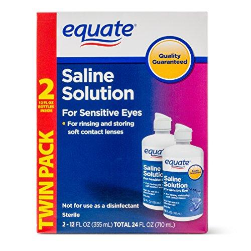 Equate Saline Solution for Sensitive Eyes Twin Pack, 12 fl oz, 4 count