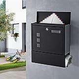 WOOHSE Design Briefkasten Schwarz mit Zeitungsfach, Namensschild, Sichtfenster, Edelstahl pulverbeschichtet, abschließbar, 2 Schlüssel, Farbe: matt