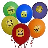 48 Building Block Party Balloons 6 Colors in 6 Fun Characters Brick Theme Birthday Supplies Favors Decorations Pack by Gift Boutique