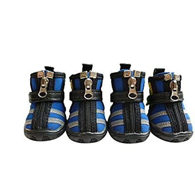 Moolecole Breathable Mesh Pet Shoes Anti-Skid Sole Zipper Paw Protector with Velcro for Small to Medium Dogs 4-Pack Blue M